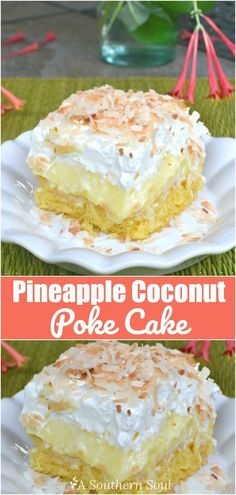 Coconut Poke Cake - A Southern Soul Luscious cake with tropical flavors of pineapple & coconut is cool and easy to make.Luscious cake with tropical flavors of pineapple & coconut is cool and easy to make. Coconut Pineapple Cake, Coconut Poke Cakes, Cake With Pineapple, Coconut Cake Easy, Recipe With Coconut, Southern Coconut Cake Recipe, Pineapple Ideas, Coconut Flour, Almond Flour