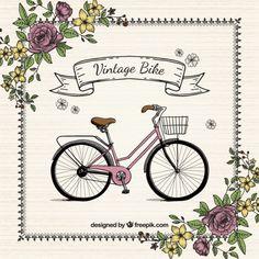 Mão bicicleta desenhado com flores fundo vintage Vetor grátis