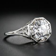 2.21 Carat Art Deco Filigree Diamond Engagement Ring - circa 1920