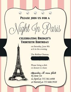 Paris Birthday Party, Paris Party, Paris Party Invitation, made with Stampin Up's My Digital Studio Paris Themed Birthday Party, 13th Birthday Parties, Birthday Party Invitations, Birthday Party Themes, Birthday Ideas, Spa Birthday, Frozen Birthday, 10th Birthday, Wedding Invitations