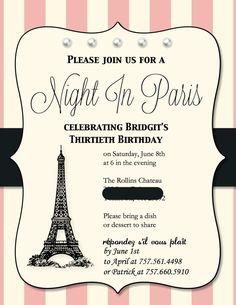 Paris Birthday Party, Paris Party, Paris Party Invitation, made with Stampin Up's My Digital Studio