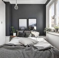 Small Master Bedroom Design with Elegant Style - MagzHome - Home bedroom - Bedding Master Bedroom Comfy Bedroom, Home Decor Bedroom, Interior Design, Small Master Bedroom, Bedroom Interior, Home, Gray Bedroom Walls, Modern Bedroom, Home Decor