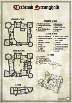 A floor plan of Teebrook Stronghold, perfect for any RPG or Fantasy setting. Fantasy City Map, Fantasy Castle, Medieval Fantasy, Rpg Map, Adventure Map, Dungeons And Dragons Homebrew, Dungeon Maps, Location Map, City Maps