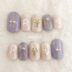 35 Simple Ideas for Wedding Nails Design Nail Art Diy, Diy Nails, Cute Nails, Pretty Nails, Korean Nail Art, Korean Nails, Lilac Nails, Gold Nails, Pastel Nails