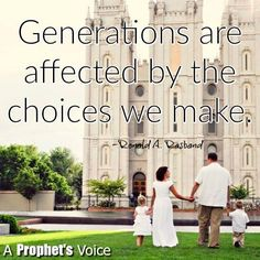 "Remember, ""Generations are affected by the choices we make. Share your testimony with your family; encourage them. Bolster their faith. Keep the covenants you have made, regardless of the actions of those around you. Be diligent. Remain faithful and steadfast."" From #ElderRasband's http://pinterest.com/pin/24066179236041539 inspiring #LDSconf http://facebook.com/223271487682878 message http://lds.org/general-conference/2016/10/lest-thou-forget Learn more http://facebook.com/189155347799517"