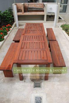 Mesa y banco con patas cruzadas mesas de madera de for Muebles de jardin uruguay