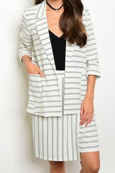 Open Front Blazer with Matching A-Line Skirt Set