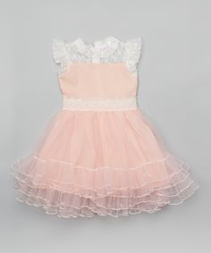 Loving this White & Pink Lace Angel-Sleeve Dress - Infant & Girls on #zulily! #zulilyfinds