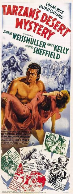 paradiso 100 Years of Movie Posters: Tarzan 100 Years of Movie Posters: Tarzan Old Movie Posters, Classic Movie Posters, Horror Movie Posters, Cinema Posters, Movie Poster Art, Classic Movies, Film Posters, Vintage Posters, Horror Films