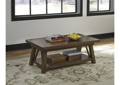 T863-1 Dondie Rectangular Cocktail Table - Rustic Brown - Free Shipping!