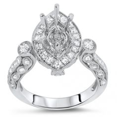 F76595/KR06464 - Marquise Halo Engagement Ring - Semi Mount for 1.5 ct Center Stone