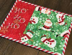Set of 2 Snack Mats Coasters Candle or Coffee Mat Pair of Christmas Green and White Poinsettia Quilted Mug Rugs Hot Pad Mini Placemat