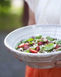 Strawberry, rhubarb + lentil salad with maple vinaigrette