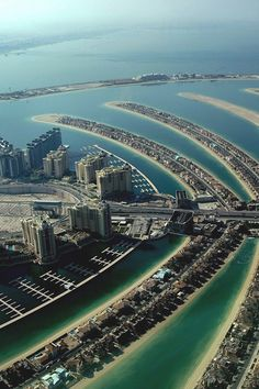 Aeriel view of Dubai, a city in the United Arab Emirates. The emirate of Dubai is located on the southeast coast of the Persian Gulf and is one of the seven emirates that make up the country.   Go to www.YourTravelVideos.com or just click on photo for home videos and much more on sites like this.