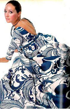 Marisa Berenson c. 1970  Vogue , US Vogue March 1970 by Bert Stern , gown by Richard Tam.