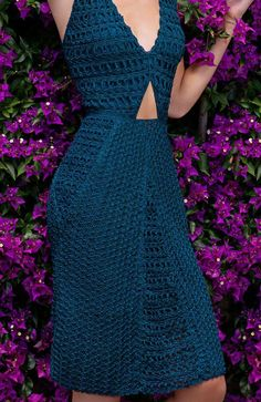 Our Alexa dress is crafted from navy blue crocheted cotton with a figure-skimming fit. This partially lined piece is ideal for the summer, hot days or to slip on over your bikini for lunch overlooking Clothing Patterns, Dress Patterns, Crochet Bikini, Knit Crochet, Crochet Designs, Crochet Patterns, Crochet Wedding Dresses, Cocktail Gowns, Knit Fashion