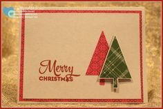 """Set of 4 handmade Christmas Cards and envelopes. Inside features sentiment """"May your days be Merry & Bright"""" stamped in the same red ink (Cherry Cobbler) as the """"Merry Christmas"""" on the front of the c"""