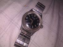 Vintage Bulova M2 17 Jewels Watch Black Face Stainless Steel Runs