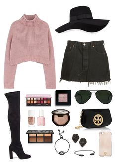 """florida tuesday ‼️"" by lalalanie ❤ liked on Polyvore featuring Levi's, Steve Madden, Becca, Ray-Ban, Anastasia Beverly Hills, San Diego Hat Co., Kat Von D, Tory Burch, Kendra Scott and Bobbi Brown Cosmetics"