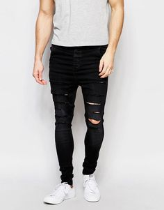 SikSilk   SikSilk Drop Crotch Skinny Jeans With Distressing at ASOS