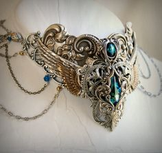 Orientalism Aged Silver and Swarovski by HarlequinRomantique, $198.00