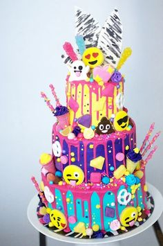 Emoji Cake Torta Birthday 10th Cakes