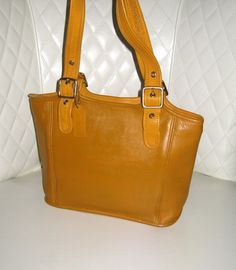 8 Vintage COACH Mustard Yellow Leather Double Handle Bucket Tote. Starting at $1