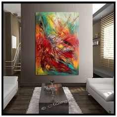 Oversized LARGE paintings red abstract art Modern by largeartwork, $350.00