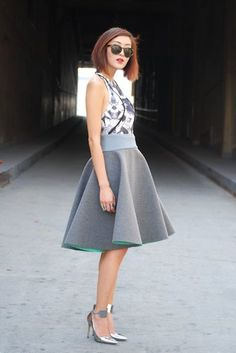 Love that skirt.  Hint of color underneath
