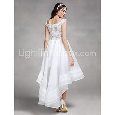 A-line Wedding Dress - Chic & Modern Asymmetrical Off-the-shoulder Organza with Beading / Lace 2016 - $119.99