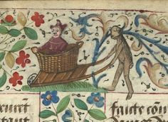 Pushing a fool in a wheelbarrow - ibliothèque nationale de France, Département des manuscrits, Français 328 - http://gallica.bnf.fr/ark:/12148/btv1b52000962r/f57.image