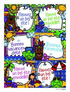 FREE Summer Postcards ~ French French Summer, Summer Art, End Of School Year, End Of Year, Learn To Speak French, French Resources, Ways Of Learning, French Lessons, Teaching French