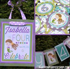 Mermaid Birthday Decorations Package. $97.50, via Etsy.