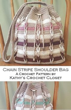 Crochet Bag PATTERN - Chain Stripe Shoulder Bag - Drawstring Bag Pattern - Striped Bag Pattern - Chain Link Crochet Bag - Drawstring Purse Knitting For BeginnersKnitting HatCrochet PatternsCrochet Scarf Crochet Purse Patterns, Bag Crochet, Crochet Shell Stitch, Crochet Handbags, Crochet Purses, Love Crochet, Single Crochet, Crochet Chain, Crochet Clutch