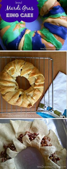 Mardi Gras Recipe: Traditional King Cake using Crescent Rolls - this was so good!  Fun way to celebrate Mardi Gras with the kids - hide a plastic baby inside the cake and whoever finds it in their piece has good luck all year!