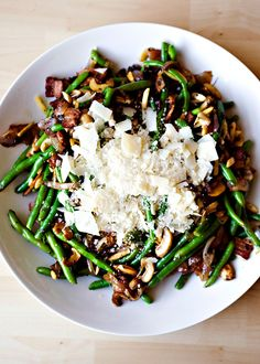 Green Beans with bacon, mushrooms and parmesean