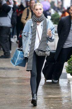 Leggings + Denim Jacket + Scarf + Lace-Up Boots