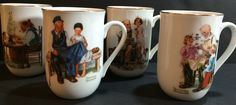 Vintage Norman Rockwell Art Museum Set Four Collectors Coffee Tea Mugs Cups 1982