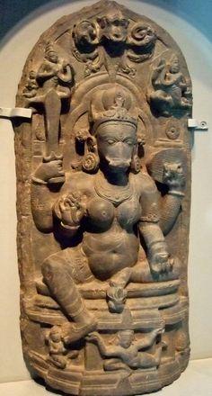 Shakti of the Hindu deity vishnu in the form of a boar (Varaha) Ce India eastern Bihar state Chlorite. Photographed at the Asian Art Museum of San Francisco in California. Indian Goddess, Durga Goddess, Temple Indien, Buddha India, Asian Sculptures, Human Sculpture, Asian Art Museum, Hindu Deities, Greek Art