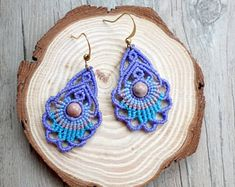 macrame earrings, hoop earrings, macrame jewelry with zebra stone Macrame Earrings, Macrame Jewelry, Crystal Jewelry, Boho Jewelry, Crochet Earrings, Hoop Earrings, Crafty Fox, Sashiko Embroidery, Micro Macrame