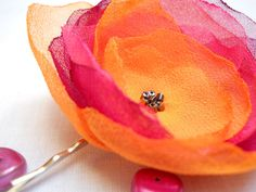 Chiffon Flower Hairclip- Orange, Bordoux and Pink, hair accessories, hair clip, hairpin. £4.00, via Etsy.