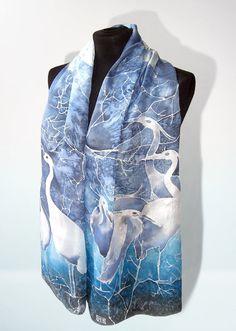Silk scarf HERON scarf hand painted silk scarves by MinkuLUL