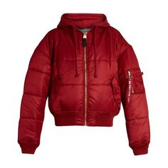 Vetements X Alpha Industries reversible hooded bomber jacket ($2,295) ❤ liked on Polyvore featuring outerwear, jackets, jacket's, red, reversible hooded jacket, red hooded jacket, bomber style jacket, red jacket and double face jacket