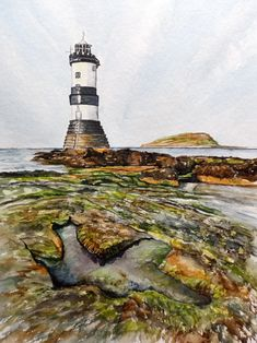 A4 original watercolor painting of Penmon Point Lighthouse on Anglesey, North Wales. £70.00. Watercolours, Watercolor Paintings, Multimedia Arts, Anglesey, North Wales, Gouache, Lighthouse, Statue Of Liberty, A4
