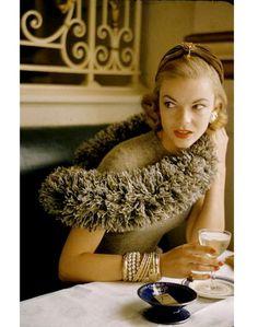 Vogue, 1956. such a sweet little hat!