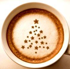 .·:*¨¨*:·.Coffee ♥ Art.·:*¨¨*:· Christmas tree stars latte art