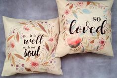 """Easy home decor idea. Fun Bethany Lane Exclusive Pillow Covers! Each is made of a linen burlap and has a zippered closure. An 18"""" x 18"""" insert is the perfect size for each of these pillows - add your own! These make perfect gifts! Pick a perfect sweet saying that fits your style."""
