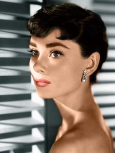 1950s Audrey Hepburn - overdrawn brows, overdrawn pink-red lips, liner flick, lashes