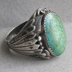 Monty Claw Signed Vintage Navajo Native American Men's Large Turquoise Sterling Silver Ring, Size 13