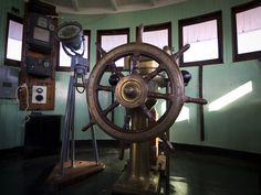 The wheelhouse of the 105-year-old S.S. Keewatin, the last Canadian Pacific Railway Great Lakes steamship, while docked in Mackinaw City, MI, USA on Tuesday, June 12, 2012.